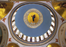 Painting of the dome of the ascension Cathedral in a Russian Orthodox women`s ascension monastery, Jerusalem Royalty Free Stock Photography