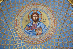 The painting on the dome of the Cathedral of the Sea Nikolsokgo. Kronstadt Royalty Free Stock Photos