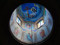 Painting of the dome in the Christian Orthodox Church. Painted dome icons depicting saints in the Christian Orthodox Church stock photography