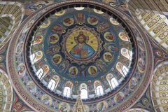 Painting of the dome from the inside in the church of St. Nicholas the Wonderworker in the city of Evpatoria, Crimea stock images