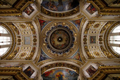 The painting on the dome and walls of Saint Isaac`s Cathedral in Stock Photos