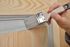 Painting a door Royalty Free Stock Photo