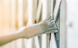 Painting  door in grey color Stock Photos