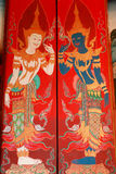 Painting on the doors in the church. Painting on the wall in the church, Wat Klang Bang Keaw temple, Nakhon Chai-sri, Nakorn Pathom,Thailand. Generality in Stock Image