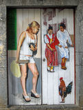 Painting On Doors. Funchal, Maderia Portugal. April 5, 2014 Art of Open Doors Project stock image