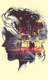 Painting of double exposure concept stock illustration