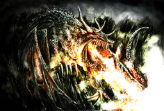 Painting of a dramatic dragon. Dramatic painting of a fire breathing dragon Royalty Free Stock Photography