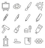 Painting Or Drawing Equipment Icons Thin Line Vector Illustration Set. This image is a vector illustration and can be scaled to any size without loss of vector illustration