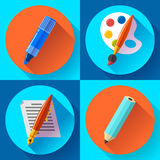 Painting and Drawing Icons set Royalty Free Stock Photos