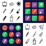 Painting Or Drawing Tools All in One Icons Black & White Color Flat Design Freehand Set vector illustration