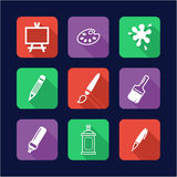 Painting Or Drawing Tools Icons Flat Design Stock Images