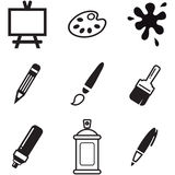 Painting Or Drawing Tools Icons Royalty Free Stock Photography