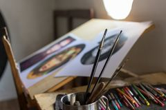 Painting and drawing utensils in a studio stock images