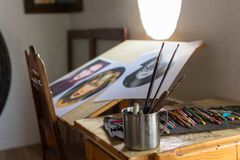 Painting and drawing utensils in a studio stock photos