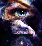 Painting eagle with woman eye on abstract background  in space with stars. Wings to fly, USA Symbols Freedom. . Stock Image