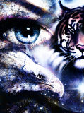 Painting eagles and tiger with woman eyes on abstract background in space with stars. Wings to fly. Painting eagles and tiger with woman eyes on abstract royalty free illustration