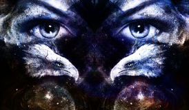 Painting eagles with woman eyes on abstract background and Yin Yang Symbol in space with stars. Wings to fly. Painting eagles with woman eyes on abstract stock illustration