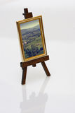 Painting on easel. Small painting on an easel royalty free stock photos