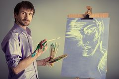 Painting on easel Royalty Free Stock Photo