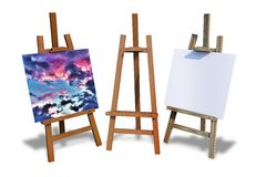Painting Easels. Wood Painting Easels on White. Painting Theme Illustration. Three Painting Easels. One with Paint, One with Empty Canvas and One with no Canvas Stock Illustration