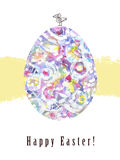 Painting Easter card. illustration with Easter egg. Hand painting. Stock Photos