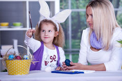 Painting of easter eggs Royalty Free Stock Photography