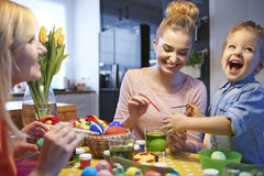 Painting easter eggs Royalty Free Stock Photo