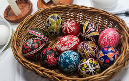 Painting Easter eggs. Easter eggs painted on ancient technology with wax Stock Photos