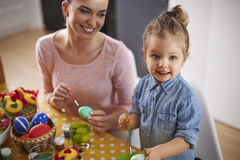 Painting easter eggs. What is the best moment in Easter? Painting eggs Stock Photography