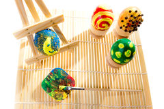 Painting easter eggs in workshop royalty free stock images