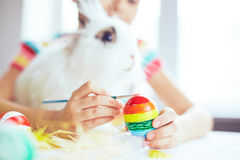 Painting with Easter rabbit Royalty Free Stock Images