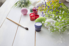 Painting eggs for easter holiday celebration Stock Photography