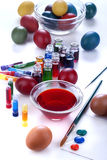 Painting eggs for Easter Royalty Free Stock Images