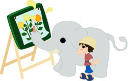 Painting by a elephant. Stock Photography