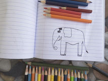 Painting elephant stock image