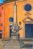 Painting of Elephant and Obelisk on Piazza della Minerva in Rome Royalty Free Stock Images