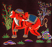Painting elephants. Painting Silk elephants in the wild Thailand Stock Photo