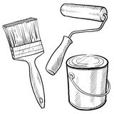 Painting equipment drawing vector illustration