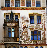 Painting, Facade, Old Town, Prague, Architecture, Landmark Stock Photography
