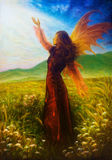 Painting fairy woman in a historic dress standing Stock Image
