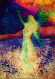 Painting fairy woman in a historic dress standing Royalty Free Stock Photo