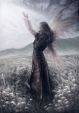 Painting fairy woman in a historic dress standing Royalty Free Stock Image