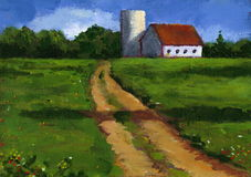 Painting of Farm Lane in Summer. My impressionist painting of a country scene with a barn and silo Royalty Free Stock Photos