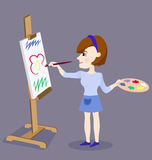 Painting Female Artist. Illustration of female artist while painting flower on the gray background. Vector Stock Photos