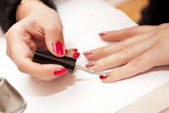 Painting of female nails Royalty Free Stock Photos
