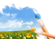 Painting a field full of wild flowers Royalty Free Stock Images