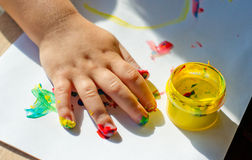Painting with fingers Stock Images