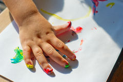 Painting with fingers Stock Image