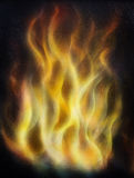 Painting Fire on black background, Airbrush painting. painting on wood. Stock Photography