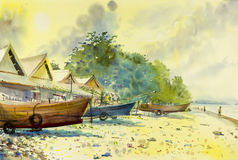 Painting of fishing boat on the beach and holiday family. Watercolor scascape original painting colorful of fishing boat on the beach and holiday family in sky vector illustration